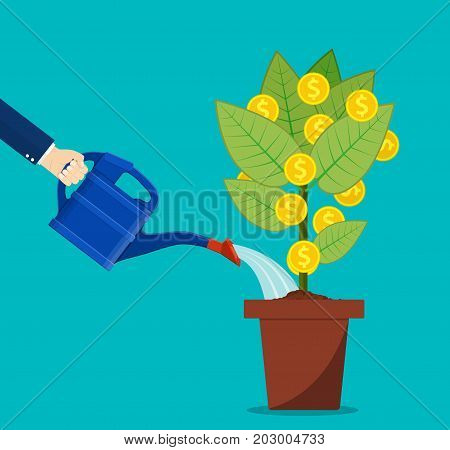 Businessman hand watering money tree. Money growth, investment, profit, financial management. Finance business concept. vector illustration in flat style