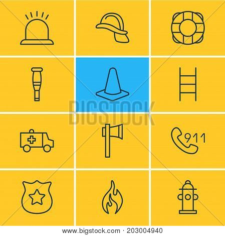 Editable Pack Of Taper, Hardhat, Spike And Other Elements.  Vector Illustration Of 12 Extra Icons.