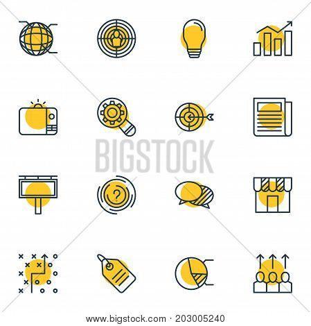 Editable Pack Of Tactical Plan, Television, Statistics And Other Elements.  Vector Illustration Of 16 Advertising Icons.