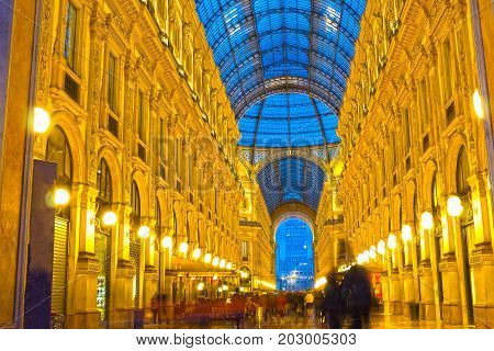 Milan, Italy - May 03, 2017: The Galleria Vittorio Emanuele in Milan at Italy on May 03, 2017