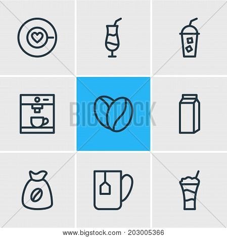 Editable Pack Of Cocktail, Mug, Seed And Other Elements.  Vector Illustration Of 9 Coffee Icons.