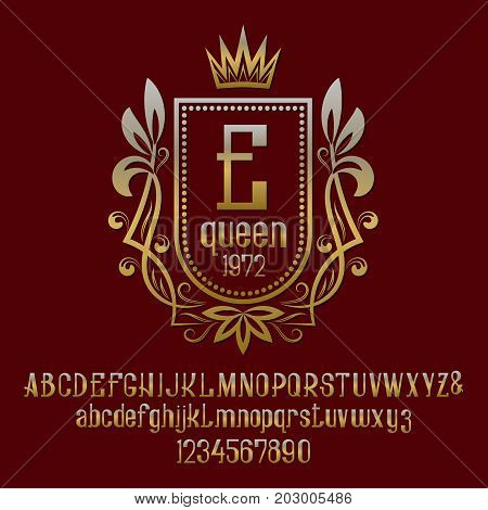 Golden letters and numbers with initial monogram in coat of arms form with crown. Awesome font and elements kit for logo design.