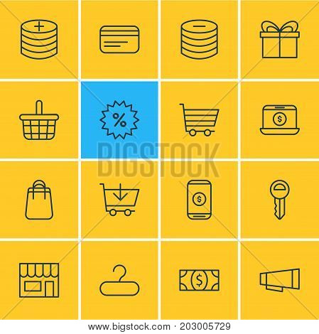 Editable Pack Of Sales, Advertising, Clef And Other Elements.  Vector Illustration Of 16 Commerce Icons.