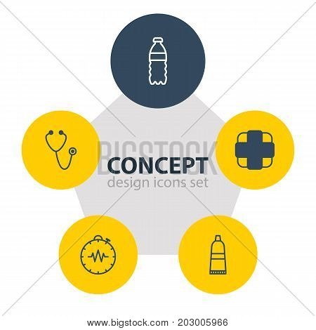 Editable Pack Of Pulse, Plastic Bottle, Tube And Other Elements.  Vector Illustration Of 5 Health Icons.