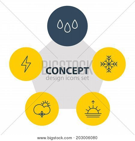 Editable Pack Of Snow, Lightning, Drip And Other Elements.  Vector Illustration Of 5 Weather Icons.