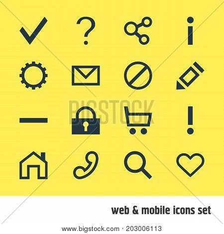 Editable Pack Of Minus, Wheelbarrow, Heart And Other Elements.  Vector Illustration Of 16 User Icons.