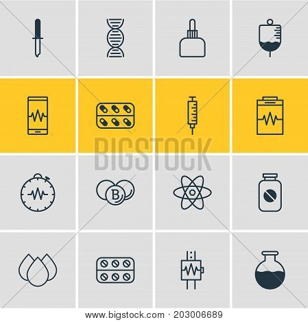 Editable Pack Of Vaccinator, Trickle, Antibody And Other Elements.  Vector Illustration Of 16 Medicine Icons.