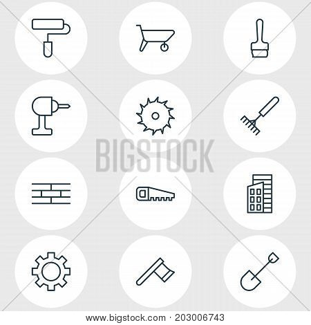 Editable Pack Of Handcart, Cogwheel, Spade Elements.  Vector Illustration Of 12 Structure Icons.