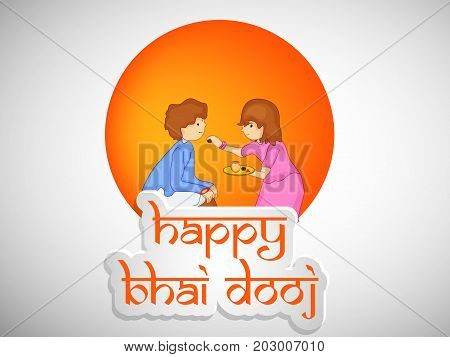illustration of boy and girl with happy Bhai Dooj text on the occasion of Hindu festival Bhai Dooj celebrated in India