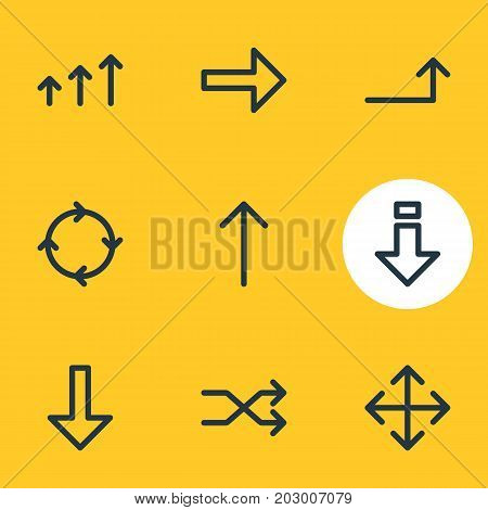 Editable Pack Of Right, Upwards, Randomize Elements.  Vector Illustration Of 9 Sign Icons.
