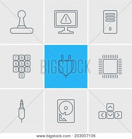Editable Pack Of Number Keypad, Keypad, Game Controller And Other Elements.  Vector Illustration Of 9 Notebook Icons.