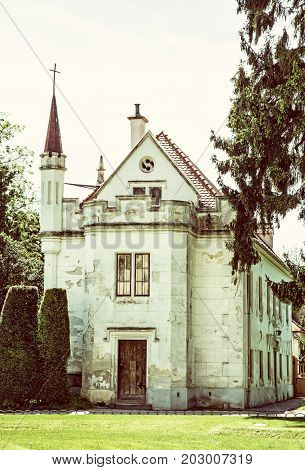 Beautiful old house in Lednice southern Moravia Czech republic. Architectural scene. Old photo filter.