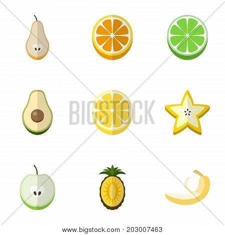 Set Of 9 Editable Fruits Flat Icons. Includes Symbols Such As Duchess, Mandarins, Jonagold