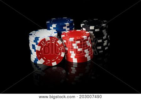 Money for playing cards on a black background with reflection