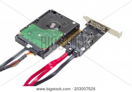 Hard disk drive for use in desktop computers and disk array controller card with connected different data cables and power cable on a white background