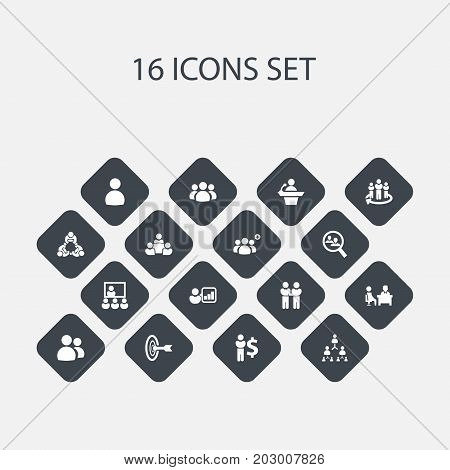 Set Of 16 Editable Community Icons. Includes Symbols Such As Teamwork, Human Resouces, Team And More