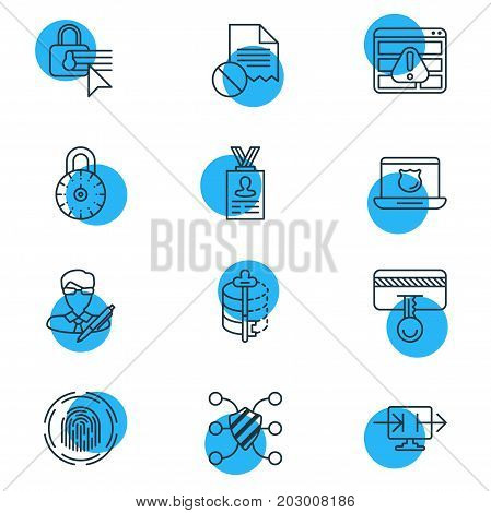 Editable Pack Of Send Information, Safety Key, Account Data And Other Elements.  Vector Illustration Of 12 Privacy Icons.