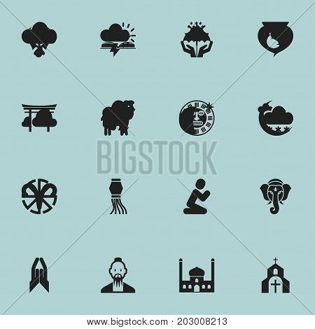 Set Of 16 Editable Religion Icons. Includes Symbols Such As Orison, Clergyman, Sacrifice Sheep And More