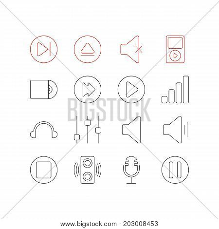 Editable Pack Of Rewind, Mike, Amplifier And Other Elements.  Vector Illustration Of 16 Music Icons.