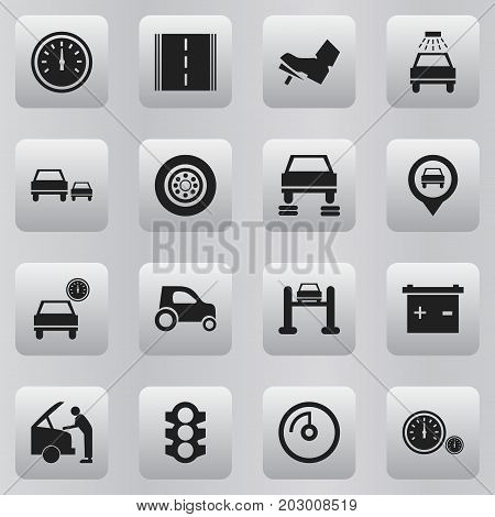 Set Of 16 Editable Car Icons. Includes Symbols Such As Odometer, Automobile, Speed Display And More