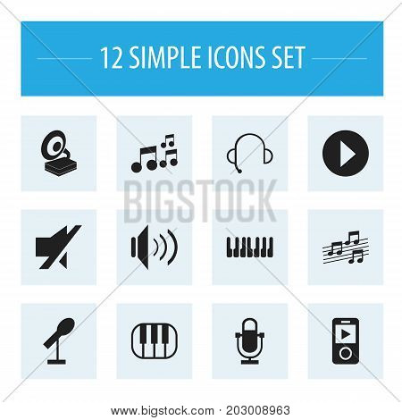 Set Of 12 Editable Song Icons. Includes Symbols Such As Begin, Phonograph, Mp3 Player And More