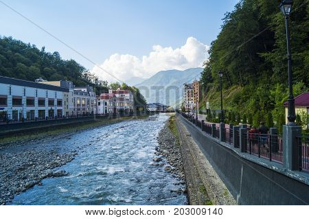 river in the mountain resort of Rosa Khutor, city of Sochi.