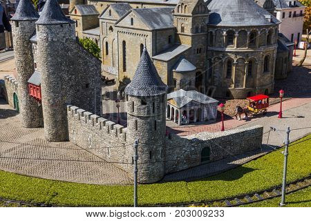 The Hague, Netherlands - April 26, 2017: Maastricht in Madurodam miniature park in The Hague.