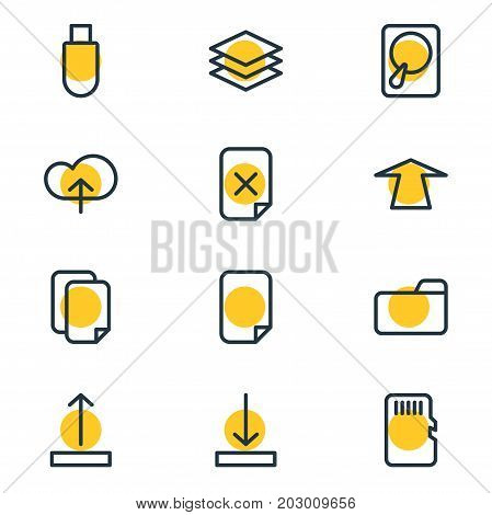 Editable Pack Of Arrow Up, File, Upload And Other Elements.  Vector Illustration Of 12 Archive Icons.