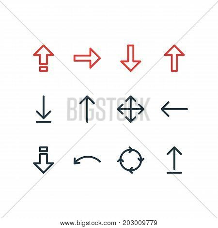 Editable Pack Of Widen, Left, Circle And Other Elements.  Vector Illustration Of 12 Arrows Icons.