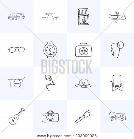 Set Of 16 Editable Camping Doodles. Includes Symbols Such As Eyeglasses, Flying Toy, Wrist Clock And More