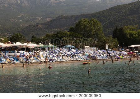 BUDVA, MONTENEGRO - AUGUST 07, 2017:View of the Slavic beach in Budva Montenegro.