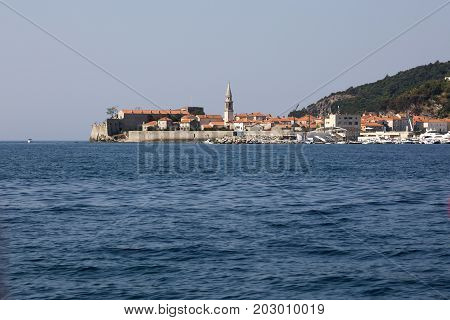 BUDVA, MONTENEGRO - AUGUST 07, 2017:View from the sea to the old town of Budva Montenegro