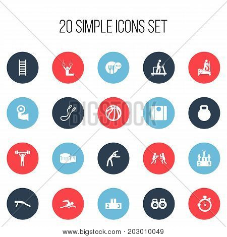 Set Of 20 Editable Fitness Icons. Includes Symbols Such As Acrobat, Exercise, Jump Training And More