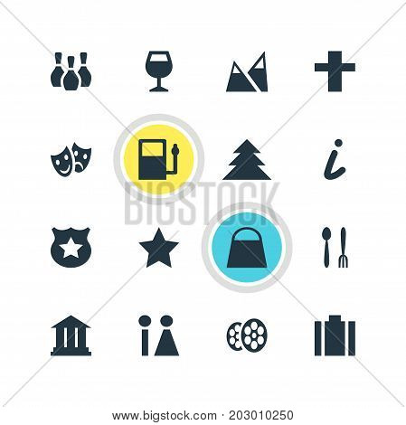 Editable Pack Of Wineglass, Refueling, Masks And Other Elements.  Vector Illustration Of 16 Check-In Icons.
