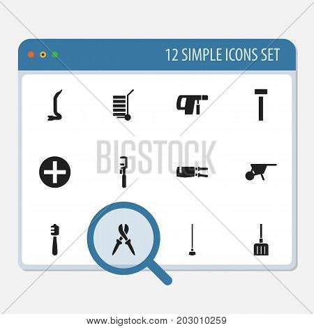 Set Of 12 Editable Tools Icons. Includes Symbols Such As Handcart, Spanner, Equipment
