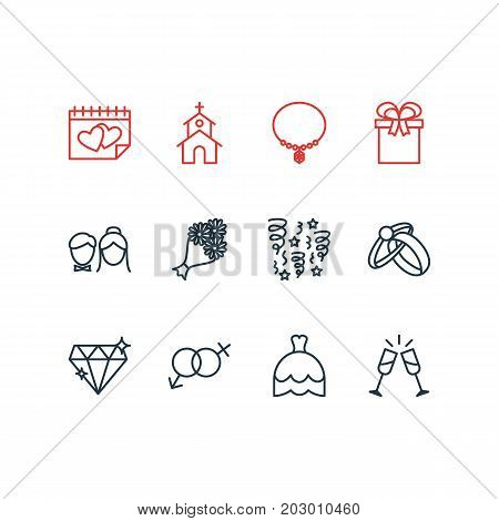 Editable Pack Of Calendar, Bridal Bouquet, Wineglass And Other Elements.  Vector Illustration Of 12 Marriage Icons.