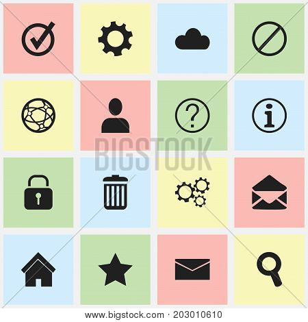 Set Of 16 Editable Web Icons. Includes Symbols Such As Deny, Security, Letter And More