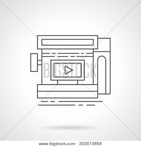 Symbol of video advertising in storefront. Outdoor advertisement elements, marketing concept. Flat black line vector icon.