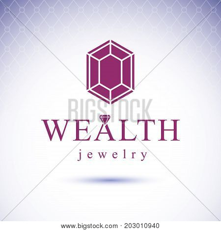 Vector precious decorative element polygonal. Luxury diamond sign emblem. Brilliant jewelry illustration.