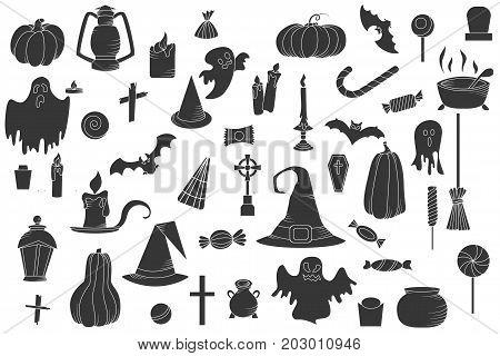Set of hallowen elements. Vector goast, pumpkin, hat icons. Spooky illustration