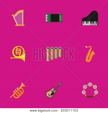 Set Of 9 Editable Mp3 Flat Icons. Includes Symbols Such As Electro, Accordion, Sax And More
