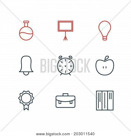 Editable Pack Of Write Table, Portfolio, Bookshelf And Other Elements.  Vector Illustration Of 9 Science Icons.
