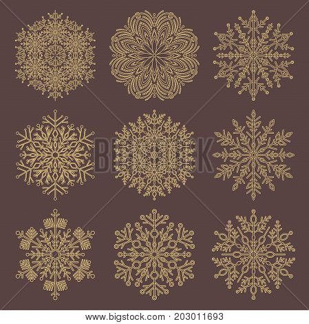 Set of vector golden snowflakes. Fine winter ornaments. Snowflakes collection. Snowflakes for backgrounds and designs