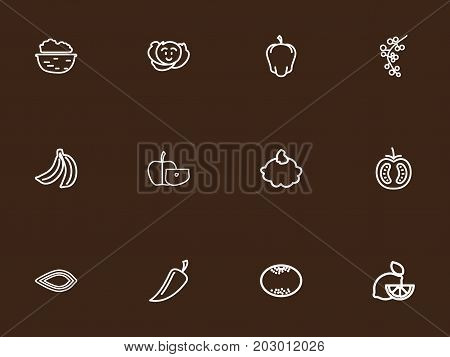 Set Of 12 Editable food Outline Icons. Includes Symbols Such As Banana, Veggie, Lemon And More