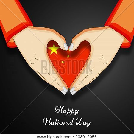 illustration of hands and heart design in China flag background with Happy National Day text on the occasion of China National Day