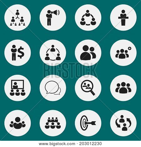 Set Of 16 Editable Cooperation Icons. Includes Symbols Such As Debate, Goal, Commander