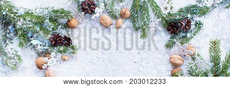 Christmas Banner Coniferous Walnuts Pine Cone Snow