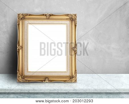 Blank Gold Victorian Picture Frame On White Marble Table At Grey Concrete Wall,template Mock Up For