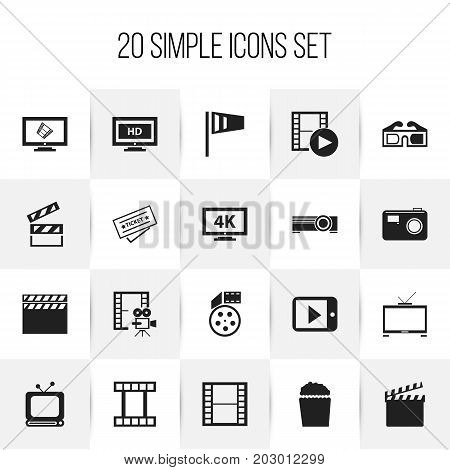 Set Of 20 Editable Cinema Icons. Includes Symbols Such As Cinema Snack, Pennant, Record And More