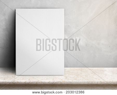 Blank White Paper Poster On Cream Marble Table At Grey Concrete Wall,template Mock Up For Adding You